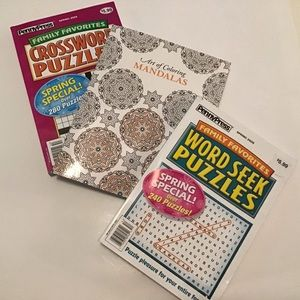 Books:Word Search, Crossword & Art Coloring New